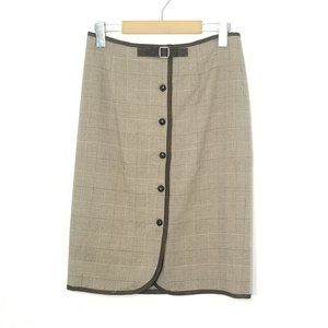 L'Officiel | Tan Hounds Tooth Plaid A-Line Skirt 4